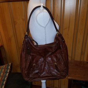 (2) FRYE XL 2 POCKET LEATHER BROWN HOBO